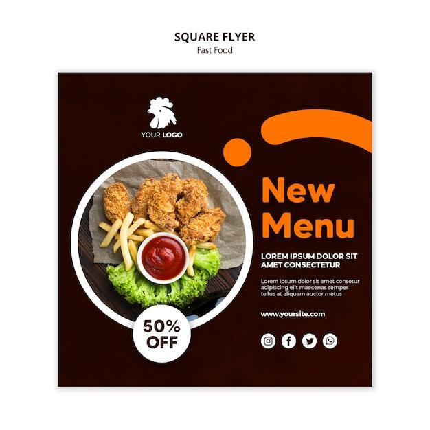 Modelo de folheto quadrado para restaurante de frango frito Psd Premium