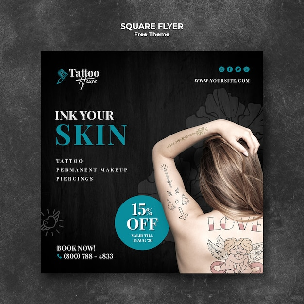 Modelo de folheto quadrado tatuagem para sua pele Psd grátis