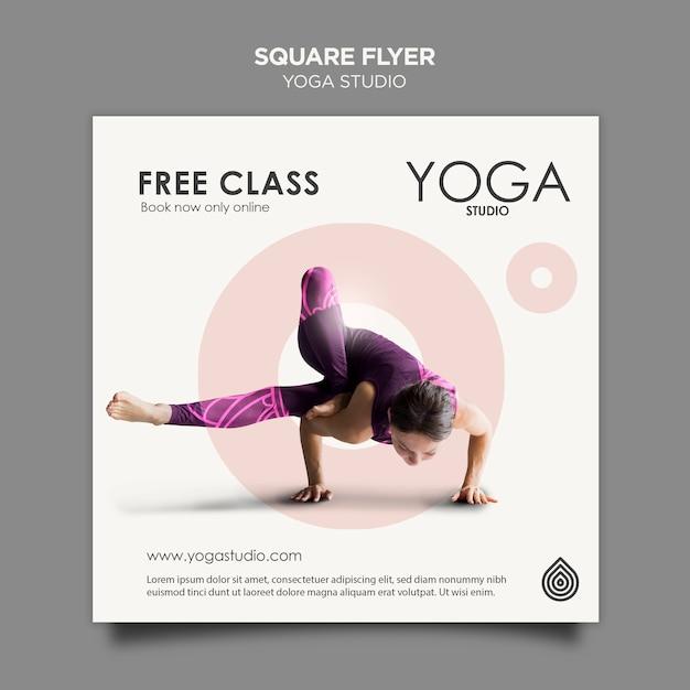 Modelo de folheto quadrado yoga studio Psd grátis