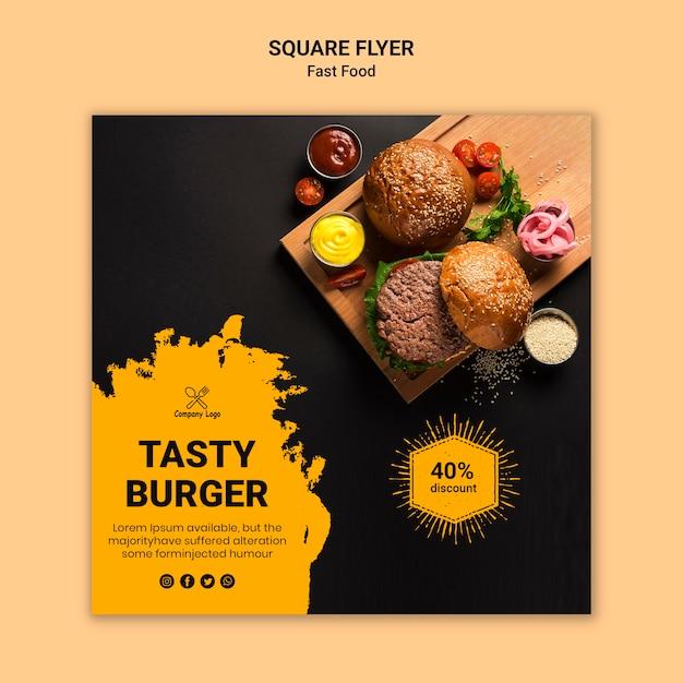 Modelo de folheto - saboroso hambúrguer quadrado Psd grátis