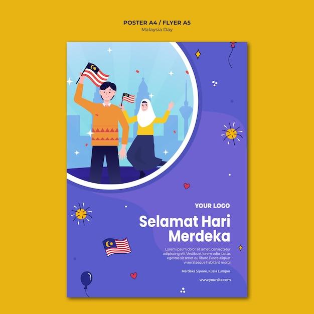 Modelo de folheto selemat hari merdeka malásia Psd grátis