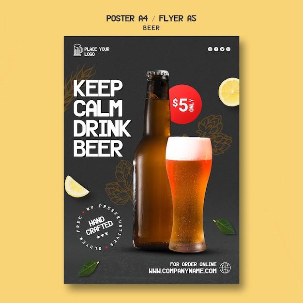 Modelo de folheto vertical para beber cerveja Psd grátis