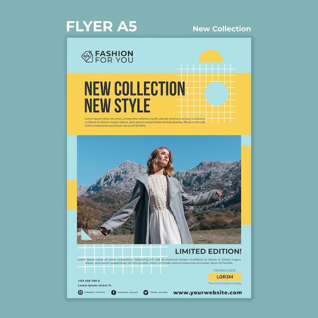 Modelo de folheto vertical para coleção de moda com mulher na natureza Psd grátis