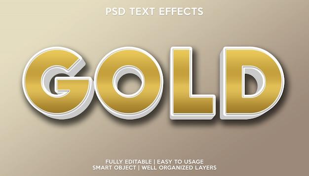Modelo de fonte de texto com efeito de texto dourado Psd Premium