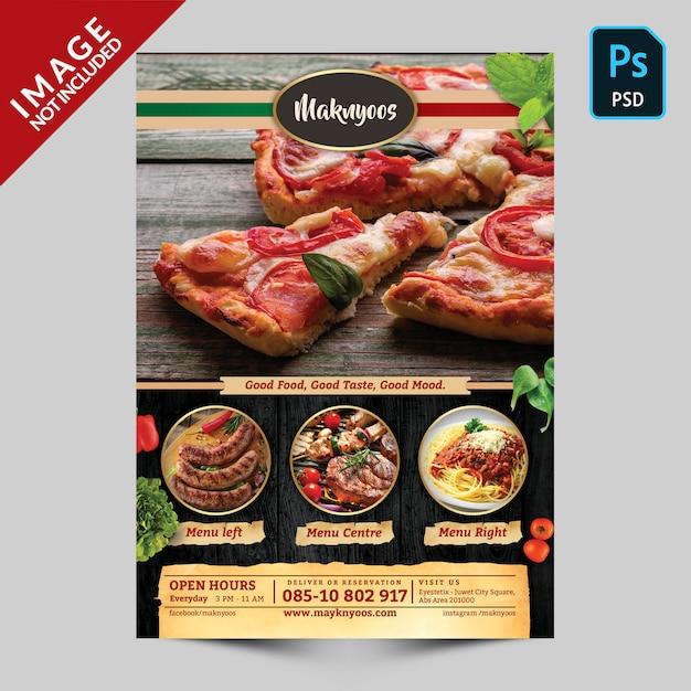 Modelo de frente de menu de comida de restaurante italiano Psd Premium
