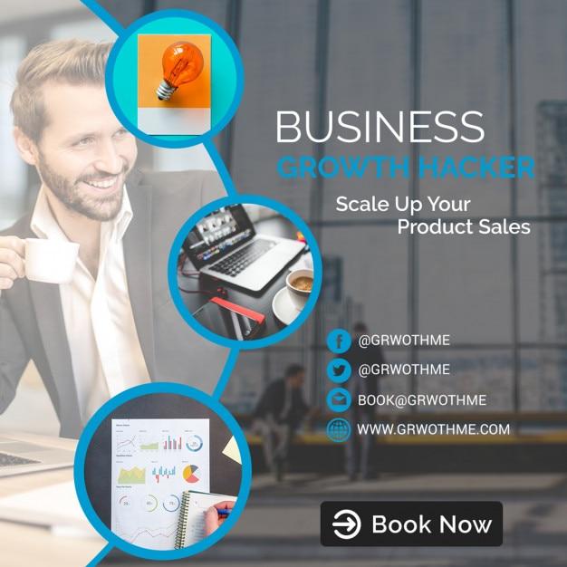 Modelo de hacker de crescimento de negócios Psd Premium