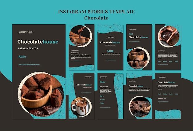 Modelo de histórias de casas de chocolate Psd grátis
