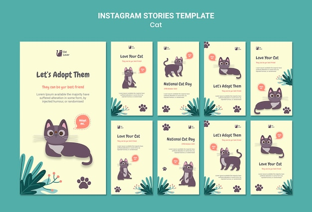 Modelo de histórias de instagram de adoção de gatos Psd grátis