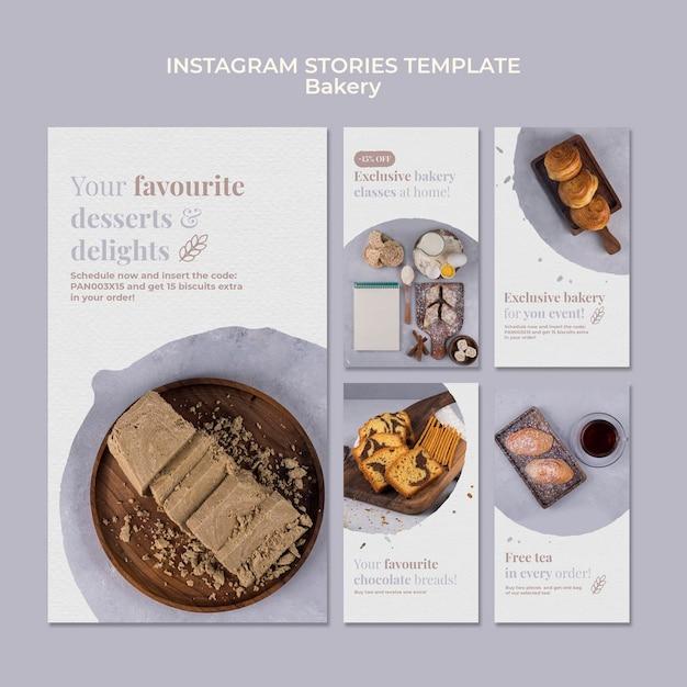 Modelo de histórias de instagram de anúncio de padaria Psd grátis