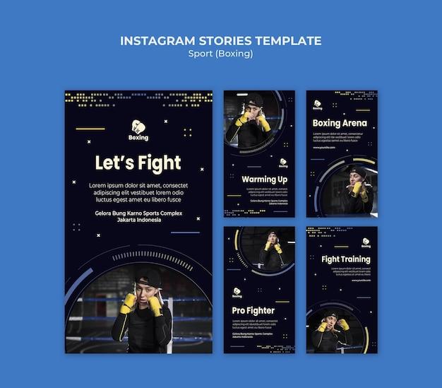 Modelo de histórias de instagram de anúncios de boxe Psd grátis
