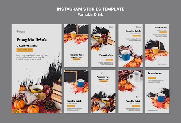 Modelo de histórias de instagram de bebida de abóbora Psd grátis