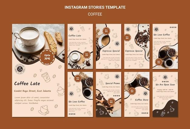 Modelo de histórias de instagram de cafeteria Psd Premium