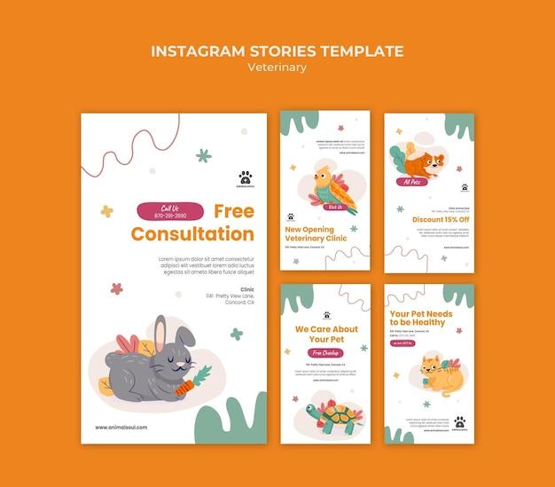 Modelo de histórias de instagram de clínica veterinária Psd Premium
