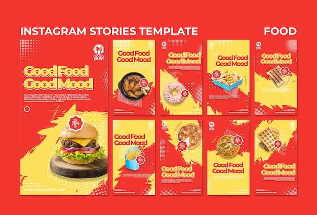 Modelo de histórias de instagram de comida Psd grátis