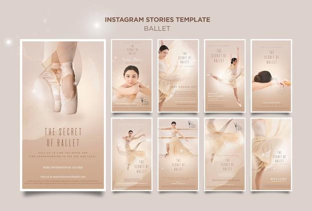 Modelo de histórias de instagram de conceito de bailarina Psd Premium