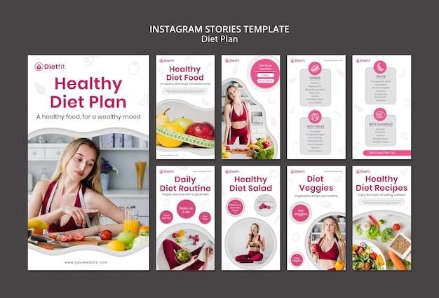 Modelo de histórias de instagram de plano de dieta Psd Premium
