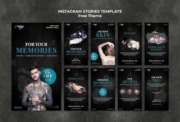 Modelo de histórias de instagram de tatuagem Psd grátis