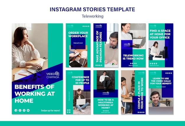 Modelo de histórias de teletrabalho no instagram Psd grátis