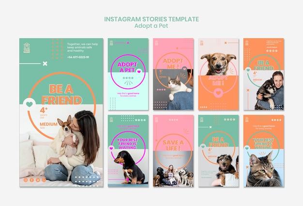 Modelo de histórias do instagram adote pet Psd grátis