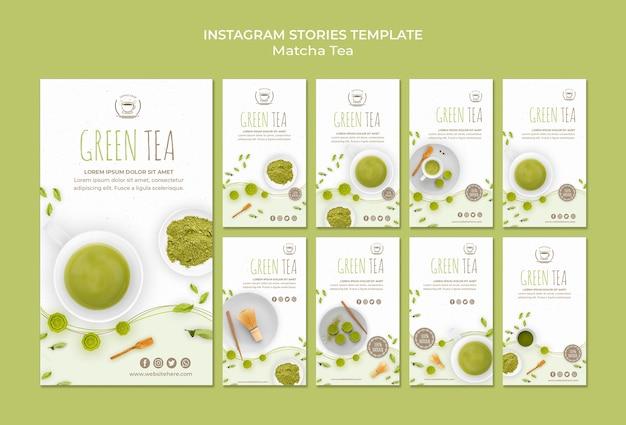 Modelo de histórias do instagram chá verde Psd grátis