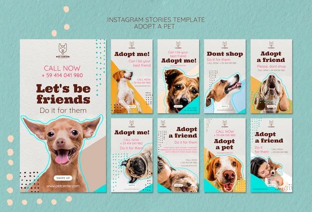 Modelo de histórias do instagram com adoção de animais de estimação Psd grátis