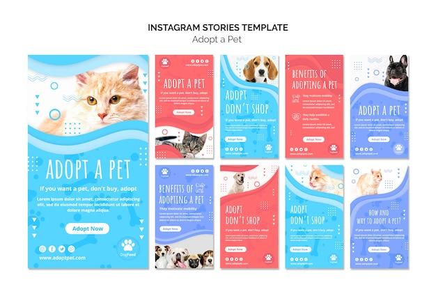 Modelo de histórias do instagram com animal de estimação adotado Psd grátis