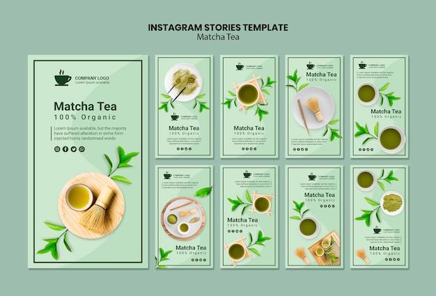 Modelo de histórias do instagram com chá matcha Psd grátis