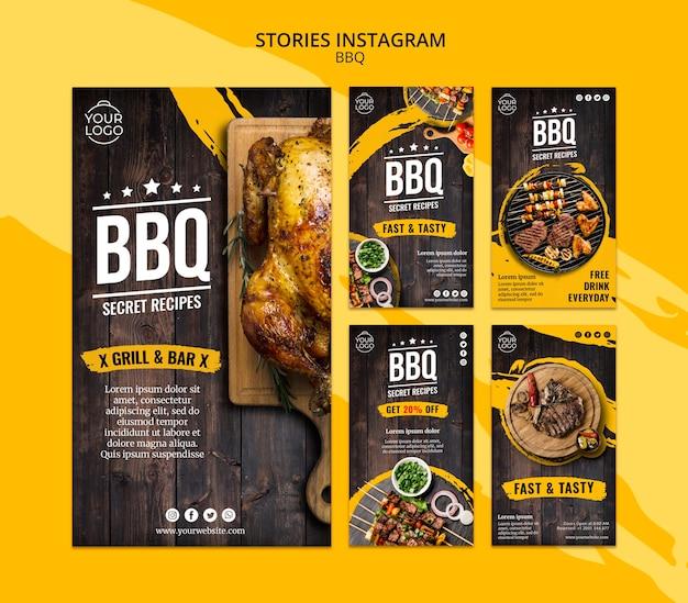 Modelo de histórias do instagram com churrasco Psd grátis