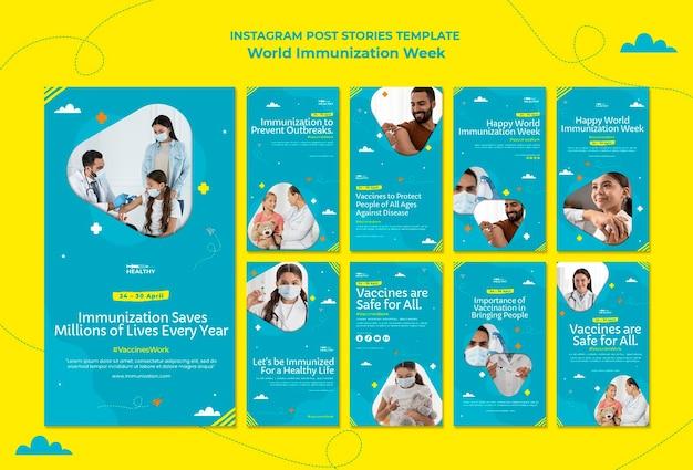 Modelo de histórias do instagram da semana mundial de vacinação Psd Premium