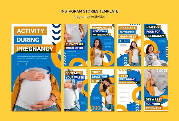 Modelo de histórias do instagram de atividades de gravidez Psd grátis