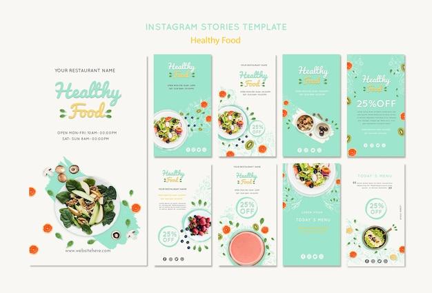 Modelo de histórias do instagram de comida saudável Psd grátis