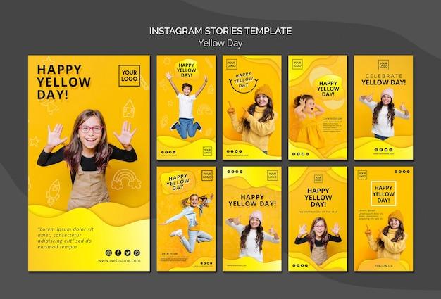 Modelo de histórias do instagram de conceito de dia amarelo Psd grátis