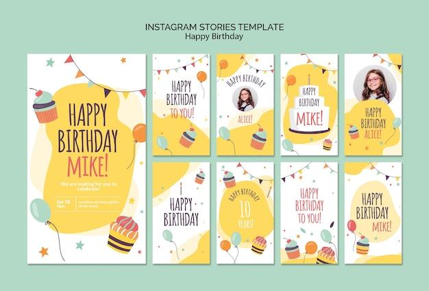 Modelo de histórias do instagram de conceito de feliz aniversário Psd Premium