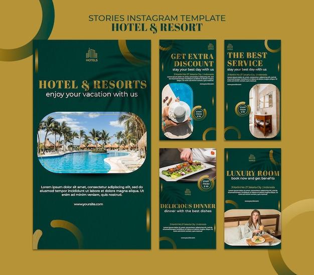 Modelo de histórias do instagram de conceito de hotel e resort Psd Premium