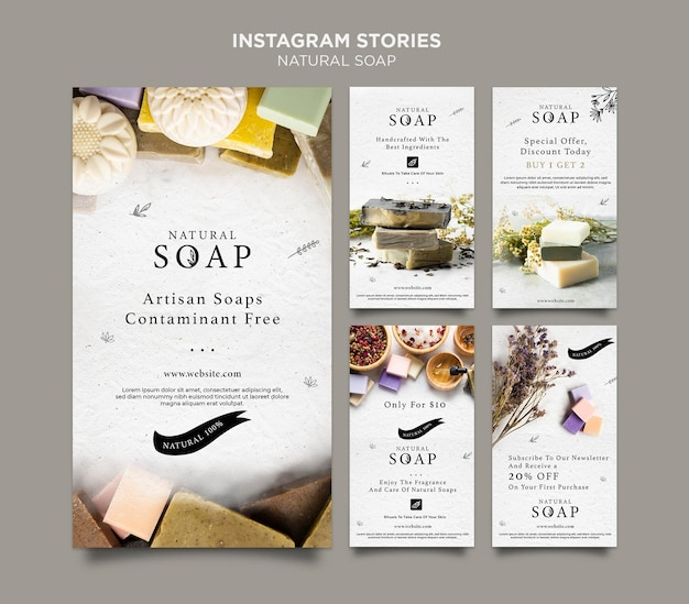 Modelo de histórias do instagram de conceito de sabonete natural Psd Premium