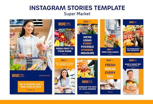 Modelo de histórias do instagram de conceito de supermercado Psd Premium