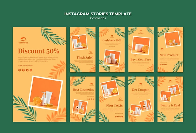 Modelo de histórias do instagram de cosméticos Psd grátis