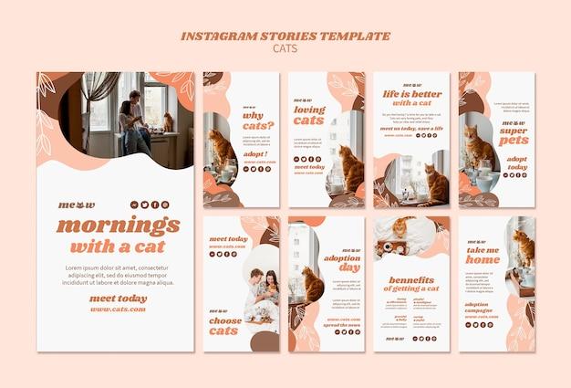 Modelo de histórias do instagram de gatos Psd grátis