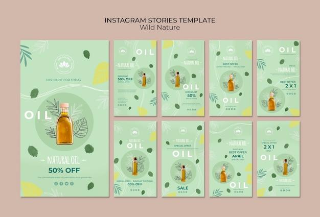 Modelo de histórias do instagram de óleo natural Psd grátis