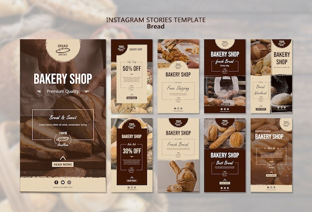Modelo de histórias do instagram de pão Psd grátis