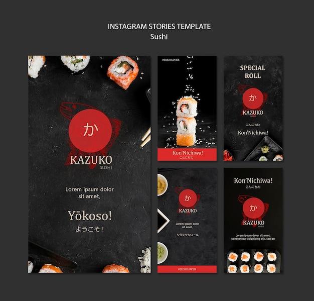 Modelo de histórias do instagram de restaurante de sushi Psd grátis