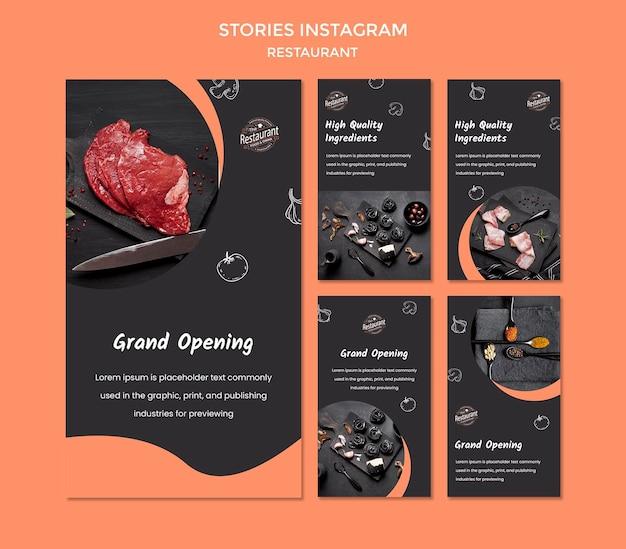 Modelo de histórias do instagram de restaurante Psd grátis