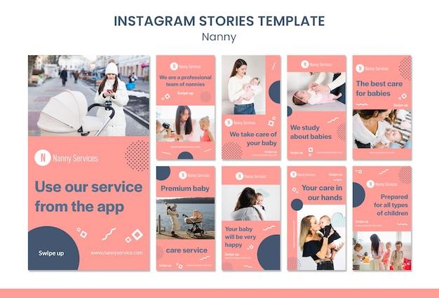 Modelo de histórias do instagram de serviços de babá Psd Premium