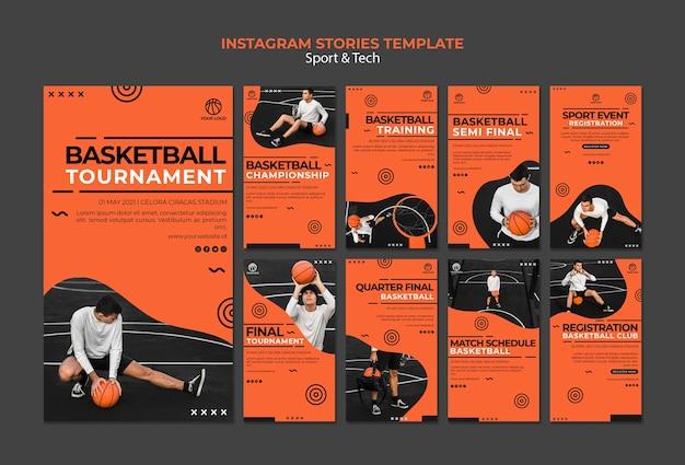 Modelo de histórias do instagram de torneio de basquete Psd grátis