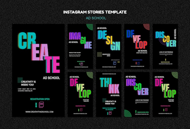 Modelo de histórias do instagram para escola de anúncios Psd Premium