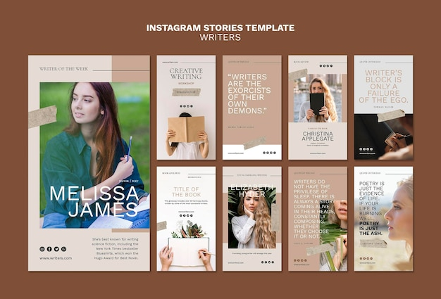 Modelo de histórias do instagram para escritores Psd grátis