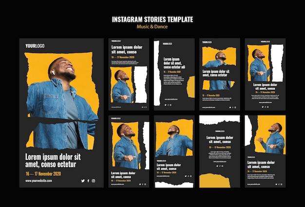 Modelo de histórias do instagram para eventos de música e dança Psd Premium