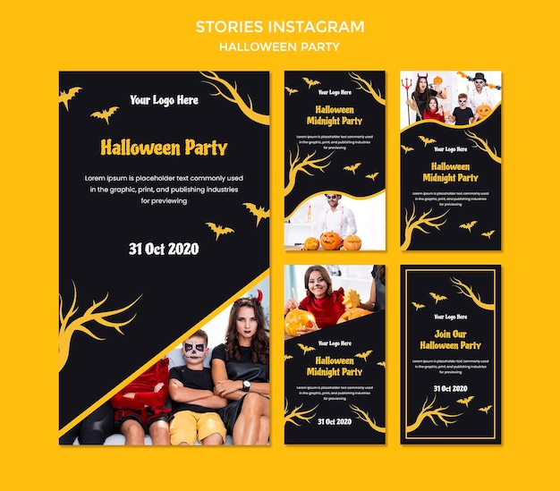 Modelo de histórias do instagram para festa de halloween Psd Premium
