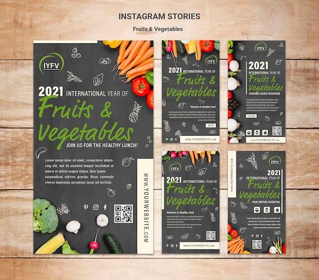 Modelo de histórias do instagram para o ano de frutas e vegetais Psd Premium