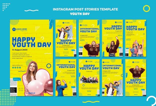 Modelo de histórias do instagram para o dia da juventude Psd grátis
